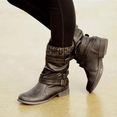 Naisten PU Matalakorkoiset Heel Kengät Mid-calf saappaat jossa Solki kengät