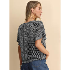 Print V Neck Short Sleeves 1/2 Sleeves Casual Blouses