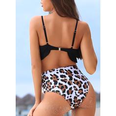 Leopard Tryck Rem Sexig Söt bikini Badkläder