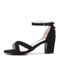 Femmes Suède Talon bottier Sandales Escarpins À bout ouvert avec Boucle chaussures