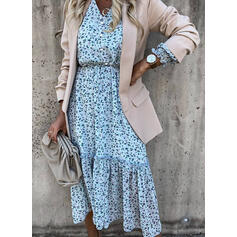 Print 3/4 Sleeves A-line Skater Casual/Vacation Midi Dresses