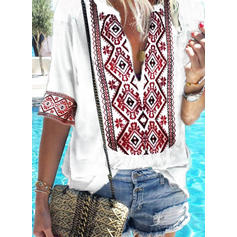 Print V Neck 1/2 Sleeves Casual Elegant Blouses