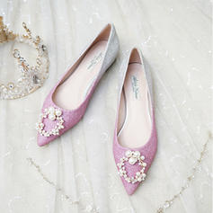 Women's Sparkling Glitter Flat Heel Closed Toe Flats With Pearl