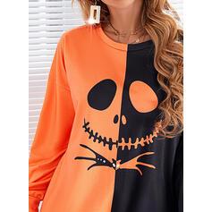 Halloween Tisk Bloc de culori Kulatý Výstřih Dlouhé rukávy Hanorac