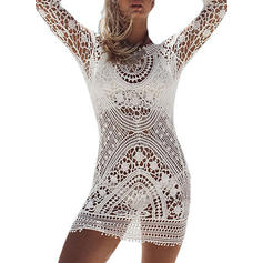 Solid Color Long Sleeve Round Neck Elegant Cover-ups Swimsuits
