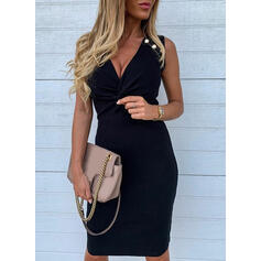 Solid Sleeveless Bodycon Knee Length Little Black/Elegant Dresses