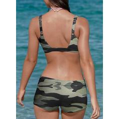 Strap V-Neck Plus Size Casual Bikinis Swimsuits