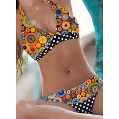 Punto Impresión Sin Mangas Cuello en V Talla extra Colorido Retro Bikinis Trajes de baño