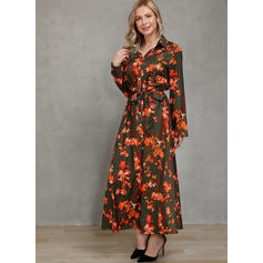 Print/Floral Long Sleeves A-line Shirt Casual Midi Dresses