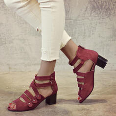 Women's PU Chunky Heel Sandals Peep Toe With Rivet Zipper shoes