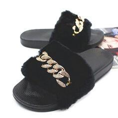 Dla kobiet Aksamit Płaski Obcas Sandały Z Stras/ Krysztal Górski Futro obuwie