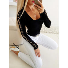 Solid Square Collar Long Sleeves Casual Elegant Sexy Knit Blouses