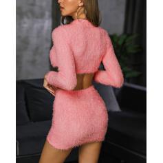 Girocollo Tinta unita Alla moda Top e minigonne