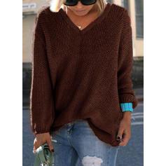 Egyszínű V-nyak πουλόβερ