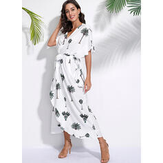 Print 1/2 Sleeves/Batwing Sleeves A-line Casual/Vacation Maxi Dresses