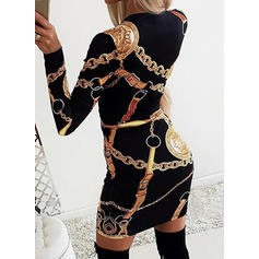 Print Long Sleeves Bodycon Above Knee Casual/Party Dresses