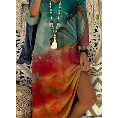 Print/Animal 3/4 Sleeves Shift Casual Midi Dresses