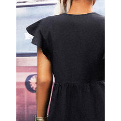 Solid Short Sleeves Ruffle Sleeve Shift Above Knee Little Black/Casual Dresses