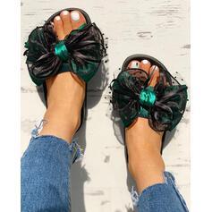 Mulheres Tecido Malha Sem salto Sandálias Peep toe Chinelos com Bowknot sapatos