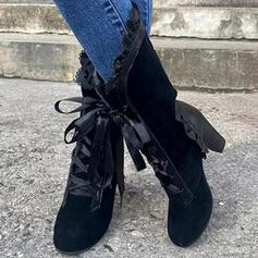Pentru Femei PU Toc gros Cizme Cizme până la jumătatea gambei cu Drapată Lace-up pantofi