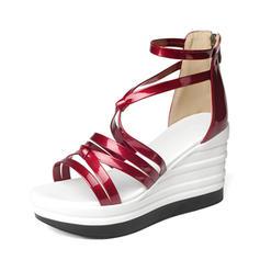 Frauen Lackleder Keil Absatz Absatzschuhe Keile mit Zuschnüren Schuhe