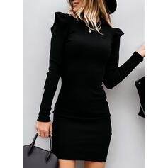 Solid Long Sleeves/Puff Sleeves Bodycon Above Knee Little Black/Elegant Sweater Dresses