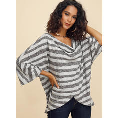 Striped V-neck 3/4 Sleeves Casual Knit Blouses