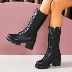 Women's PU Chunky Heel Mid-Calf Boots Round Toe Martin Boots With Zipper Lace-up Solid Color shoes