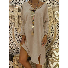 Long Sleeves Shift Knee Length Casual Dresses