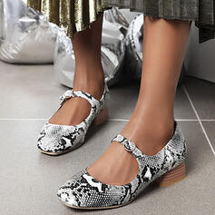 Women's PU Chunky Heel Flats Round Toe With Animal Print shoes