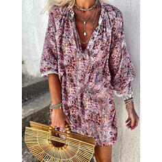 Lace/Print/Floral Long Sleeves Shift Above Knee Casual Tunic Dresses