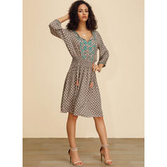 Print Long Sleeves A-line Knee Length Casual Dresses