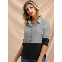 Striped Lapel 1/2 Sleeves Button Up Casual Blouses