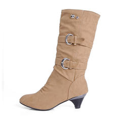 Dla kobiet Skóra ekologiczna Szpilki Zakryte Palce Kozaki Kozaki do kolan Kozaki do polowy lydki Buty zimowe Z Nit Klamra obuwie