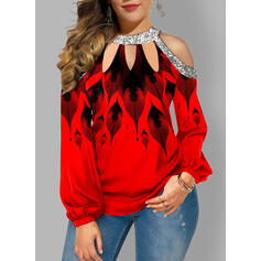 Print Sequins Cold Shoulder Long Sleeves Sexy Blouses