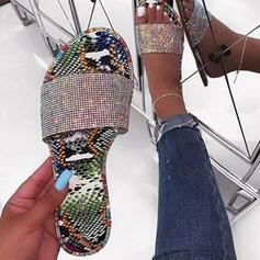 Femmes PU Talon plat Sandales Chaussons avec Pailletes scintillantes chaussures