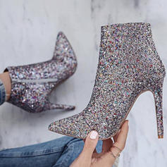 Women's PU Chunky Heel Ankle Boots With Sparkling Glitter Zipper shoes