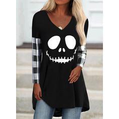 halloween Tela escocesa Impresión Cuello en V Manga Larga Camisetas