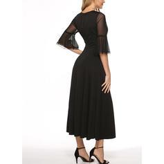 Μονόχρωμο Μακρυμάνικο Φαρδύ Κάτω Μάξι Μικρό μαύρο/Καθημερινό Сукні