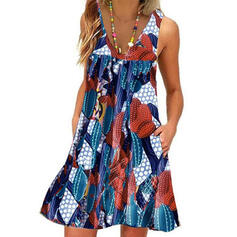 Print Sleeveless Shift Above Knee Casual/Vacation Tank Dresses