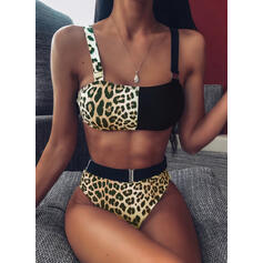 High Waist Splice color Strap Sexy Bikinis Swimsuits