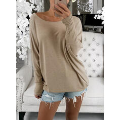Solid Round Neck Long Sleeves Batwing Sleeves Sweatshirt