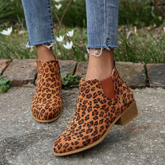 Women's PU Chunky Heel Ankle Boots With Animal Print shoes