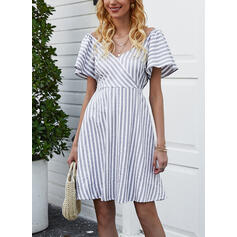 Striped Short Sleeves A-line Knee Length Casual Dresses