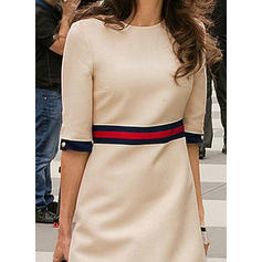 Striped 1/2 Sleeves A-line Knee Length Casual/Elegant Dresses