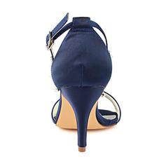 151a2e311cf ... Women s Silk Like Satin Stiletto Heel Peep Toe Pumps With Crystal Pearl  ...