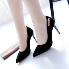 Women's Suede Stiletto Heel Pumps With Rhinestone shoes
