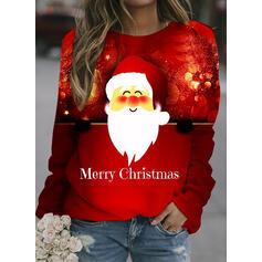 Nyomtatás Ábra Kerek nyak Hosszú ujjú Karácsonyi pulóver