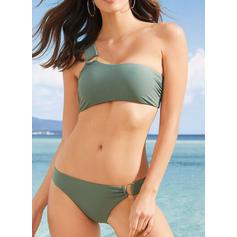 Couleur Unie Taille Basse Une épaule Sexy Élégante Bikinis Maillots De Bain