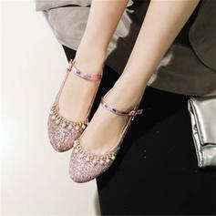 Women's Sparkling Glitter Chunky Heel Pumps Mary Jane With Imitation Pearl shoes